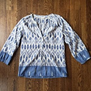 JOIE Ikat Peasant Tunic Top 3/4 Sleeve | Small EUC
